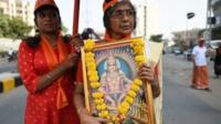 सबरीमला मंदिर में प्रवेश के विरोध में प्रदर्शन