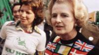 Margaret Thatcher in 1975 wearing a Europe jumper