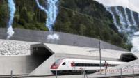"The first train out of Gotthard tunnel""s North portal"