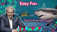 David Attenborough with turtle and shark