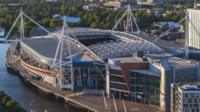 An aerial shot of the Millennium Stadium