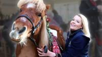 Jack the Shetland pony and his handler Ali Stearn
