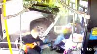 Truck and bus crash