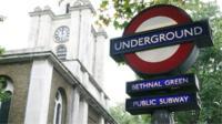 Bethnal Green underground station sign
