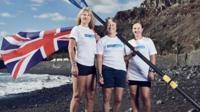 Atlantic Ladies rowing team after crossing finishing line