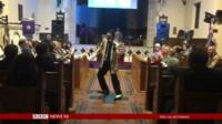Elvis impersonator Andy Rogers in action