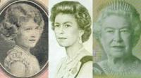 A compilation of currency portraits of Queen Elizabeth II