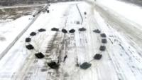 Tanks form a heart formation for a Russian soldier's proposal