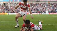 Japan score a try against South Africa in the Rugby World Cup