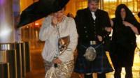 People struggle with umbrellas in Edinburgh, 12th November 2015