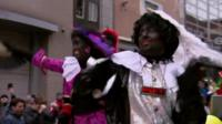 Dutch festivalgoers use black face paint to portray Black Pete