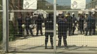 Protesters at a detention camp in Lesbos.
