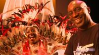Carnival queen Eleanor Claxton and costume designer Hughbon Condor