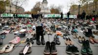 Thousands of pairs of shoes are displayed at Place de la Republique in, Paris, France, 29 November 2015
