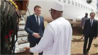 The new French president visited the West African country less than a week after taking office.