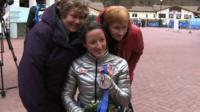 Wheelchair racer Tatyana McFadden with her adopted mother Deborah McFadden and her birth mother Nina Polevikova