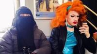 photo of burka woman and drag queen