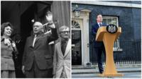 Photo montage of Harold Wilson at a polling station in 1973 and David Cameron outside Downing Street in 2016