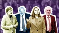 Sturgeon, Johnson, Swinson and Corbyn