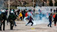 Protesters and tear gas on Lesbos