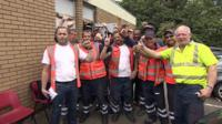Refuse workers celebrate