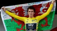 Geraint Thomas after winning the Tour de France