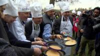 MPs at pancake race