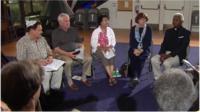 Group sitting circle