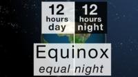 A globe of the Earth split showing 12 hours day and 12 hours night and the words Equinox equal night underneath.