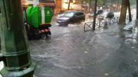 Flooding in central Paris on Monday