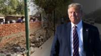 К визиту Дональда Трама в Индии построили стену, ей отгородили бедные районы.