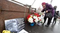 Shrine to remember Boris Nemtsov, Russian opposition leader, on the bridge in Moscow where he was killed in 2015