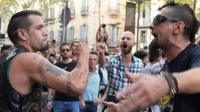 Rival protesters brawl in Barcelona