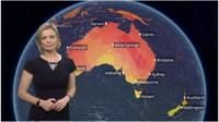 Sarah Keith-Lucas in front of map of Australia