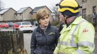 First Minister Nicola Sturgeon during a visit to flood-hit Port Elphinstone