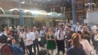 Passengers waiting at Norwich Railway Station