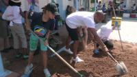 People helping with renovations in St Martin, Caribbean