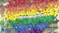 Pride inspired display with #loveisgood multi-coloured butterfly designed rainbow heart