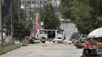 Scene of car bomb in Kabul