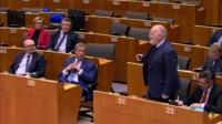 Nigel Farage and Frans Timmermans in the European Parliament
