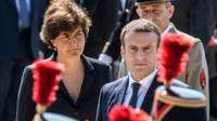 French President Emmanuel Macron (R) and defence minister Sylvie Goulard (L) attend at a ceremony at the Mont Valerien memorial in Suresnes, near Paris on 18 June
