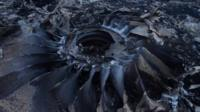 Charred remains of an plane engine