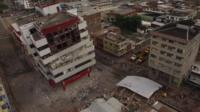 Damaged buildings in Portoviejo, Ecuador