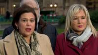 Mary Lou McDonald speaking outside Westminster
