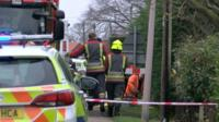 Emergency services at the scene of the fire in Collingham