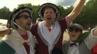 Wales fans celebrate
