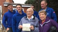 David Haylock reunited with his Christmas letter and the builders who found it