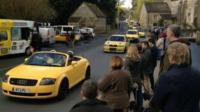 Yellow car convoy