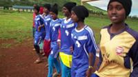 School girls in a footbal team in the Marsabit region of northern Kenya