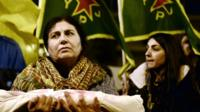 Kurdish woman at a rally